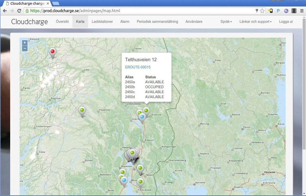 Eksempel på ladeadministrasjon via CloudCharge (Salto) ladeportal